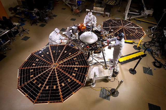 InSight spacecraft solar array deployment