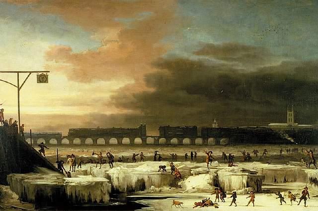 На этой картине Авраама Гондиуса 1677 года можно увидеть замёрзшую Темзу и горожан, играющих на льду