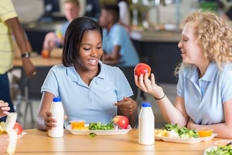 Girls-eating-school-lunch
