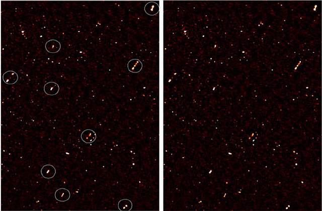 Подпись к изображению: Радиокарта района ELAIS-N1, где были зафиксированы коллинеарные радиоджеты галактик