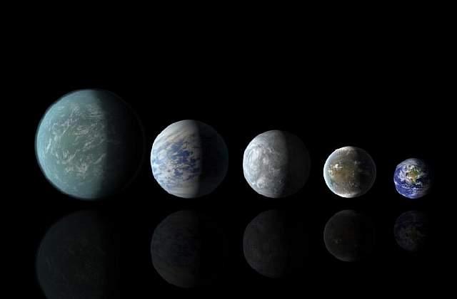 Подпись к изображению: Существует довольно много планет, схожих по размеру с Землей. Четыре из них (все это иллюстрации, выполненные художником), расположенные слева, были открыты с помощью телескопа «Кеплер, а справа – изображение нашей планеты. Таким образом, полный список слева направо таков: Кеплер-22b, Кеплер-69с, Кеплер-62e, Кеплер-62f и Земля.